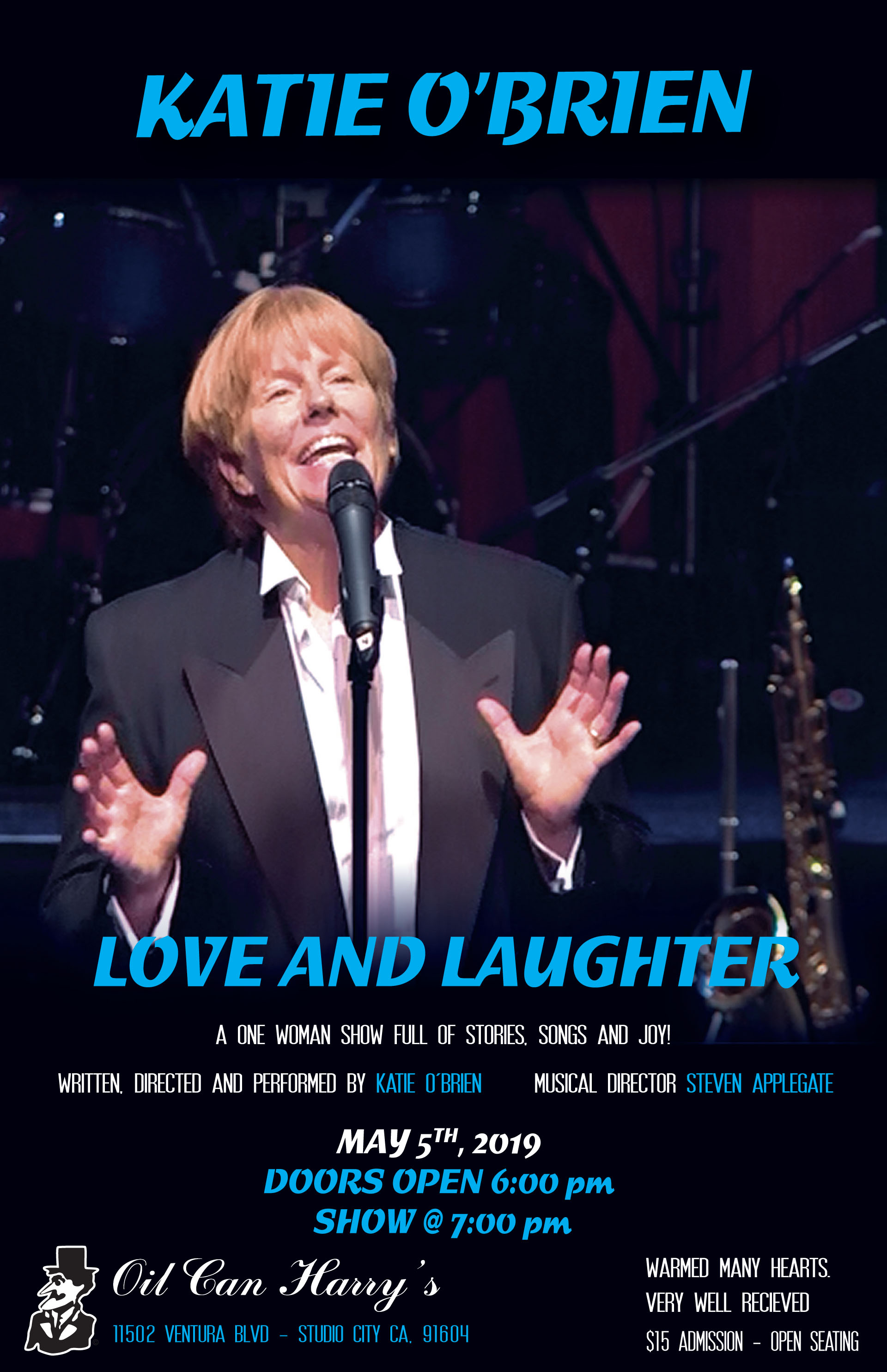 Katie O'Brien LOVE AND LAUGHTER at Oil Can Harry's: Sunday, May 5, 2019! Doors Open at 6:00 PM, and the Show Starts at 7:00 PM! $15 Admission - Open Seating